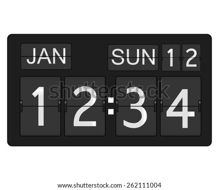 Flip clock and calendar  isolated on white background. Raster version - stock photo