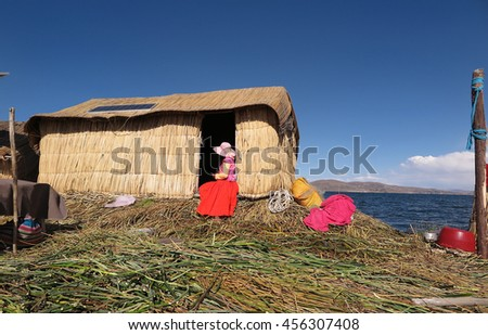 Floating reed island on Lake Titicaca, Peru                           - stock photo