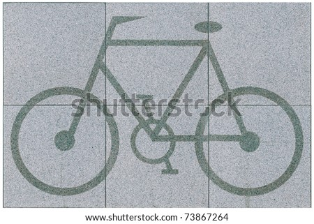 Floor tile in bicycle figure great for outdoor pedestrian isolated