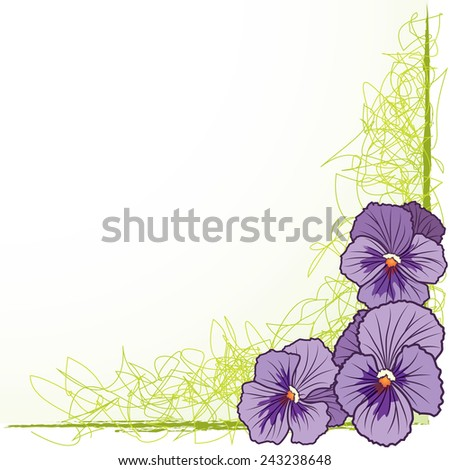 floral  border with violet pansies - stock photo