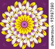 Floral mandala sacred circle  on purple background - stock photo