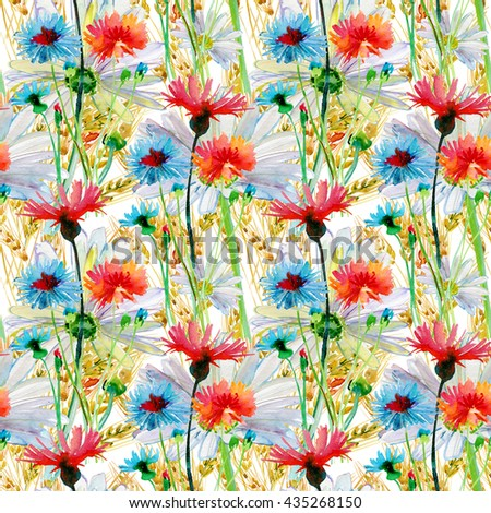 Floral pattern on a white background, wild flowers, cornflower, dandelion, chamomile, clover. Watercolor painting. - stock photo