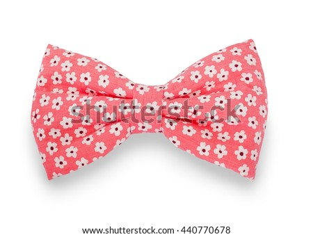 floral print ribbon knot isolated on white background. This has clipping path.                               - stock photo