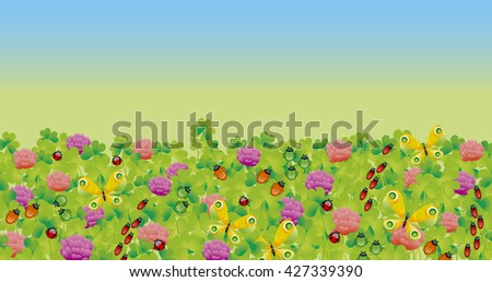 flower and bugs header. clover and butterfly  illustration. landing page header. - stock photo