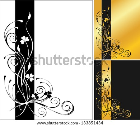 3 flower backgrounds - stock photo