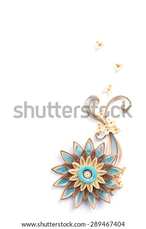 flower made quilling on a light background - stock photo