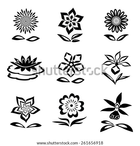 9 Flower set. Chamomile, orchid, water-lily. Black silhouettes on white background.  Isolated symbols of flowers and leaves.  - stock photo