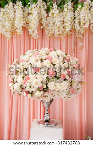 flowers,bouquet in front of wedding background , wedding decoration - stock photo
