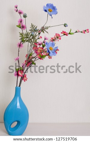Flowers in the interior against the white background.