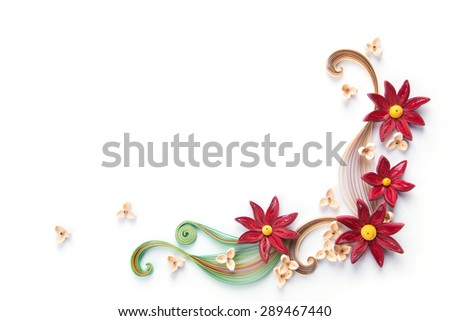 flowers made quilling on a light background - stock photo