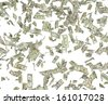 1,5,10,20,50,100 flying dollar bills, isolated on white. - stock photo