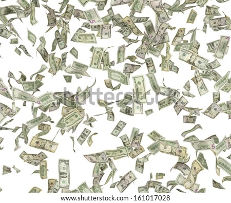 1,5,10,20,50,100 flying dollar bills, isolated on white. - stock photo