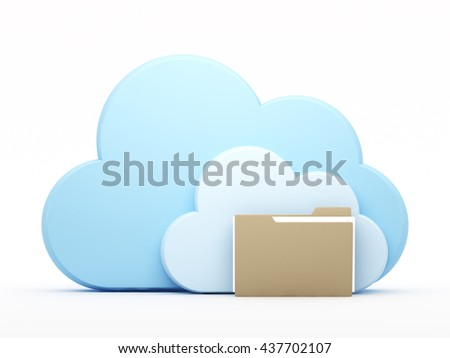 Folder and cloud on white background. 3d rendering.