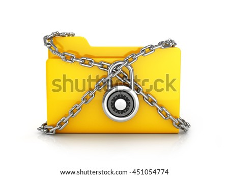 folder locked with chains. 3D rendering - stock photo