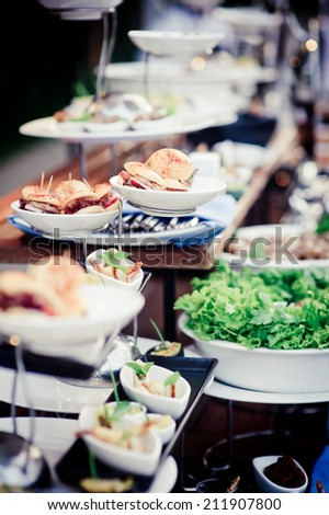 food and drinks on table - stock photo