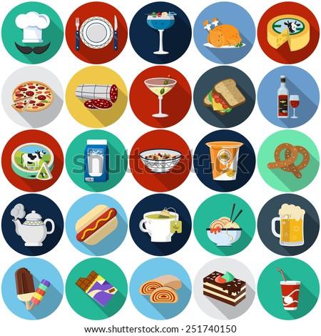 Food Flat Icons - stock photo