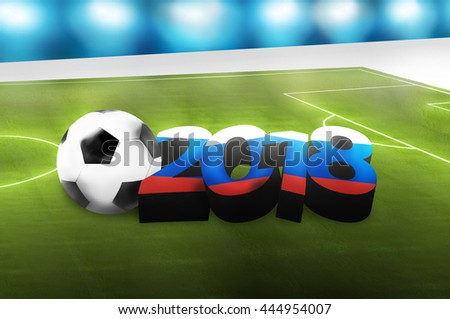 2018 footbal ball soccer in russia flag colored 3D render