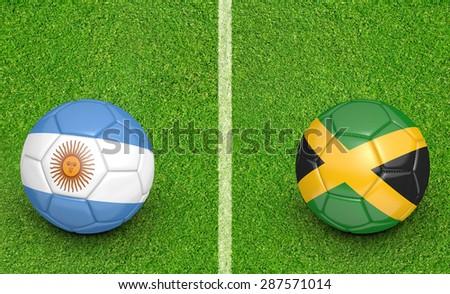 2015 football tournament, teams Argentina vs Jamaica - stock photo