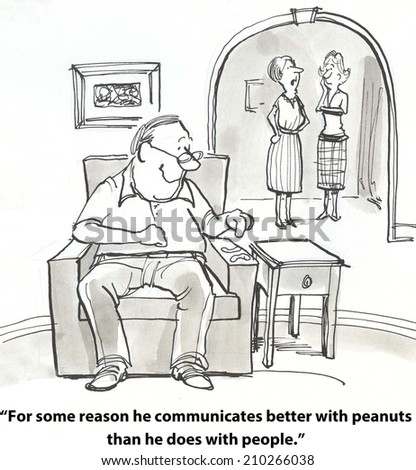 """""""For some reason he communicates better with peanuts than he does with people."""" - stock photo"""