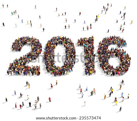 2016 formed out from celebrating people seen from above - stock photo