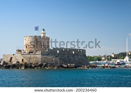 Fort Saint Nicholas, harbour of Rhodes, Dodecanese, Greece