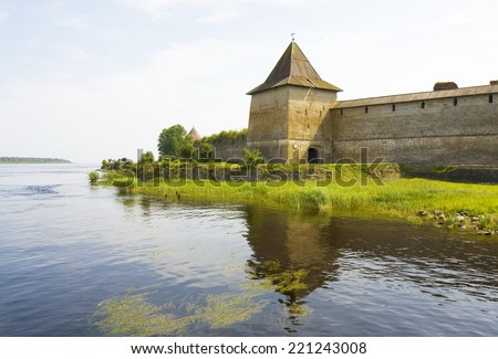 fortress Shlisselburg, also called as Oreshek (Nut) on island near town Shlisselburg in surroundings of St. Petersburg, Russia. - stock photo