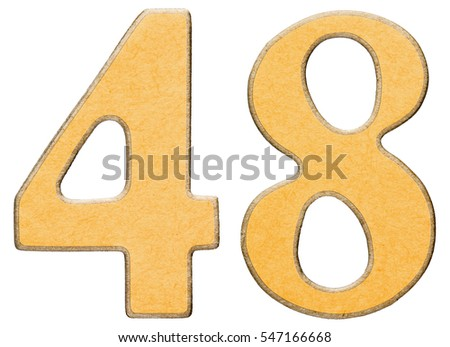 48, forty eight, numeral of wood combined with yellow insert, isolated on white background