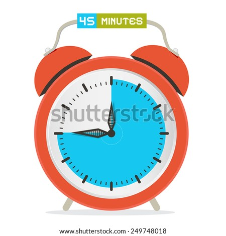 45 - Forty Five Minutes Stop Watch - Alarm Clock Illustration  - stock photo