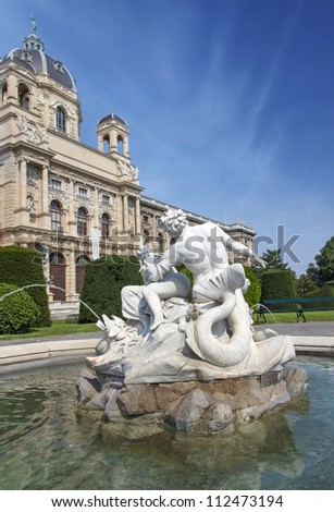 Fountain in front of Natural History Museum, Vienna, Austria - stock photo