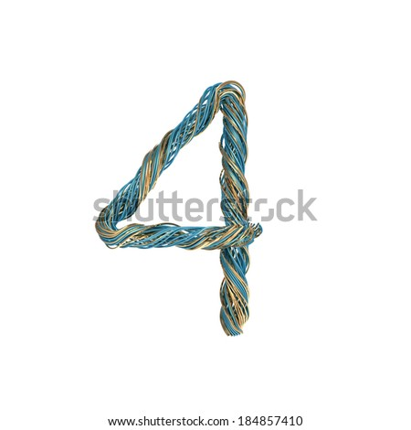 4, four, set of numbers of twisted wire - stock photo