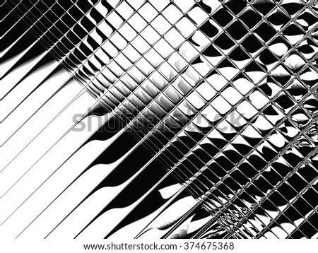 Fractal artwork for creative design. Abstract black strikes on white background. - stock photo