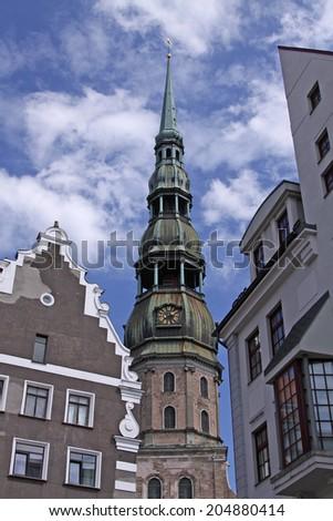 fragment of the old Riga, Latvia. - stock photo