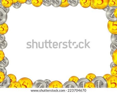 Frame from golden silver coins on white background illustration - stock photo