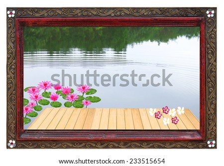 frame of natural rustic wooden bridge piers with lotus. - stock photo