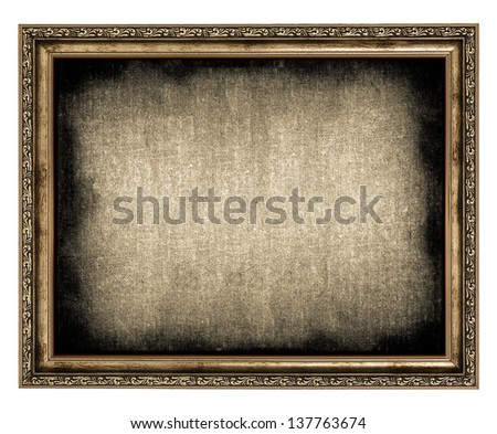 frame with empty canvas isolated on white - stock photo