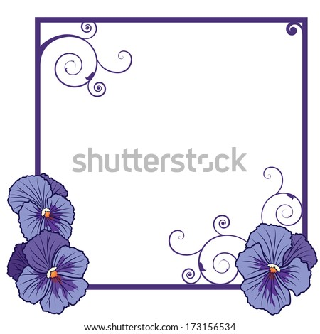 frame with flowers of  violet pansies  - stock photo
