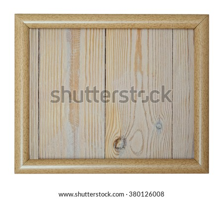 Frame with light wooden background.Isolated.