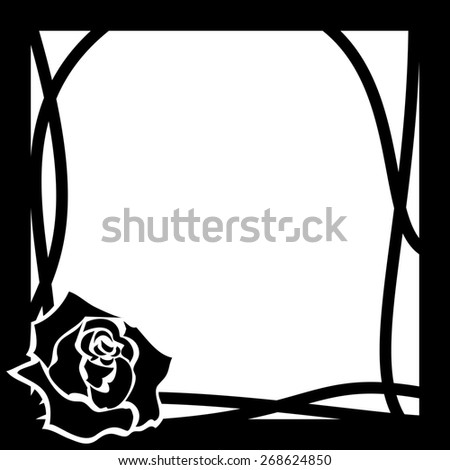 frame with rose in black and white colors - stock photo