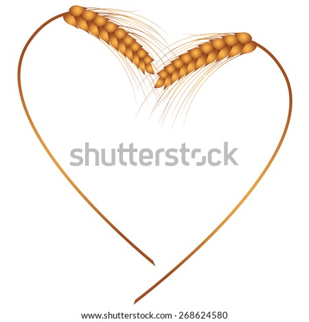 frame with the ears as heart - stock photo