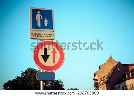 France traffic sign indicating that oncoming traffic has priority - stock photo