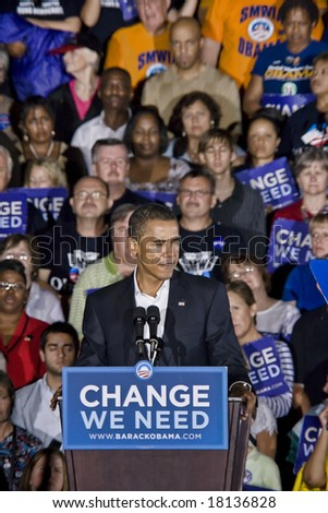 FREDERICKSBURG,VA - SEPT 27: Democratic presidential candidate Barack Obama gestures as he speaks to supporters at a rally on September 27, 2008 in Fredericksburg, Virginia.