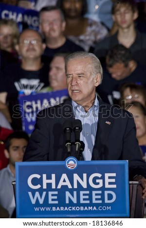 FREDERICKSBURG,VA - SEPT 27: Democratic vice presidential candidate Joe Biden speaks to supporters at a rally on September 27, 2008 in Fredericksburg, Virginia. - stock photo