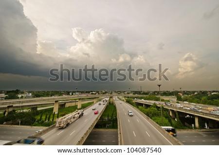 freeway overpasses and bridges. - stock photo