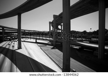 110 freeway south bound in Los Angeles California with On Ramps and off ramps traffic - stock photo