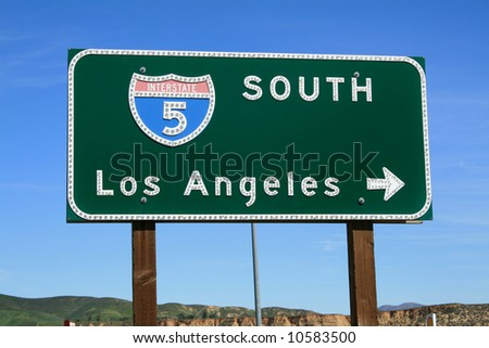 5 Freeway towards Los Angeles - stock photo