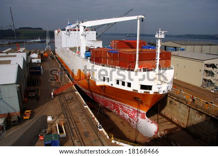 freight ship in dock in Falmouth,UK
