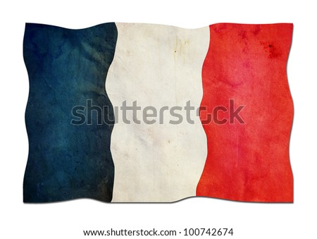 French Flag made of Paper - stock photo
