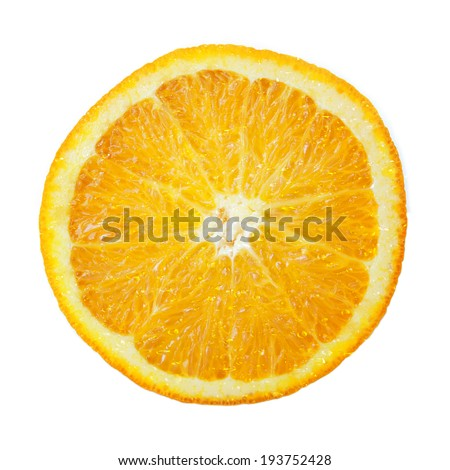 Fresh and juicy sliced Orange with  juicy drops  on white background - stock photo