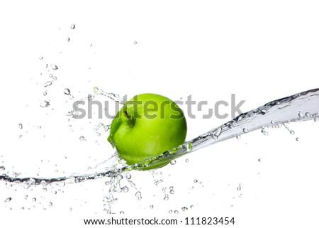 Fresh apple with water splashing, isolated on white background - stock photo