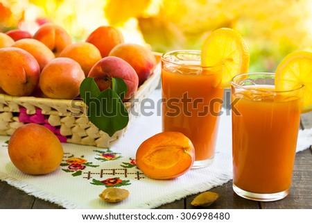Fresh apricot smoothies  - stock photo